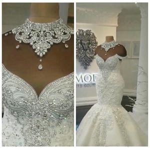 Images luxe réel Dubaï arabe sirène robes de mariée cristaux perles Traîne Plus Size Wedding Robes de mariée sur mesure BA8274