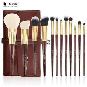 DUcare 12 Pieces Makeup Brushes Set Powder Foundation Highlighter Eye Make up Brushes with Bag Goat Hair Brush CY200516