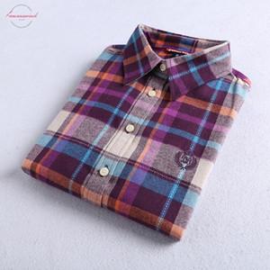 2019 Kış Yeni Bayan Sonbahar Gömlek% 100 Pamuk Günlük Stil Bluzlar Uzun Kollu Gömlek Kadın blusas Ofisi Flannel