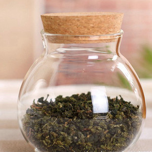 Vidrio del té del café azúcar cristal Botes flor de la planta del florero del crisol Party Decor Home transparente belleza Diseño lindo envase frasco de comida 10CM FFA3353