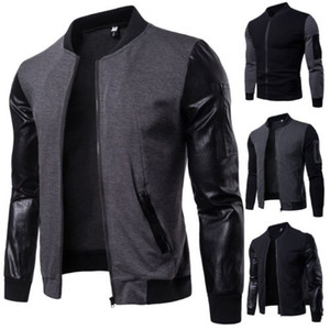 Herren Jacke Thick Winter Fashion Patchwork-Jacke warmer Winter PU-Leder-Flug Bomber Mantel Baseball Outwear