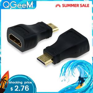 Дешевые кабели QGeeM MINI HDMI тип C MALE TO HDMI самку АДАПТЕР преобразователя 1080 P 2K 4K ДЛЯ MINI PC