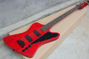 Chitarra elettrica classica a 4 corde rossa personalizzata con paletta rovesciata, tastiera in palissandro, hardware nero, 20 tasti, offerta personalizzata
