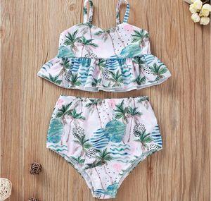 Beach Girl Suspender Belt mangas Coqueiro Imprimir Swim Suit Set Baby V-Neck Floral Imprimir Swimwear Suit Two Pieces Crianças Natação do verão