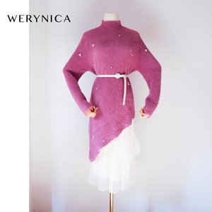 primavera Werynica Mujeres largo vestido de suéter Mujer de manga larga 2pieces sueltos cinturón de punto vestidos de cachemira visón cuello redondo acogedoras