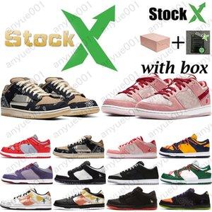 2020 Travis Scotts SB Dunk baixa Designer Sneakers Diamante Raygun Tie Dye Lobster Dia dos namorados Mulheres Homens Casual Sports Shoes frete grátis