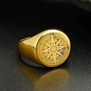 Valily Jóias Mens Anel design simples anel de aço inoxidável ouro Compass Black Fashion Anéis banda por Mulheres Homens Navigator Anéis