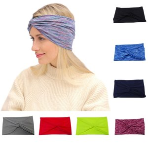 Livraison DHL Workout bandeaux Criss Cross head Wraps extensible Headwraps Yoga Courir Sport Bandeau Pour Femmes Filles 15 Styles B45F