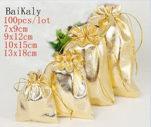 100pcs lot Gold silver Foil Organza Bag Favor baby Candy Gift Bags Wedding Party Favor Pouch Christmas Decoration Packaging Bags T200602