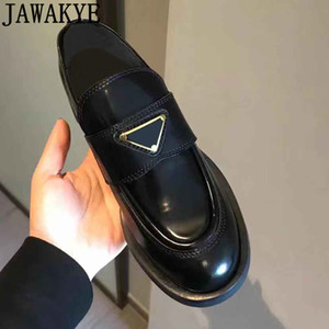 2020British Thick sole Women Loafers Black Leather Casual Flat Shoes Woman Round toe slip on Runway Platform Shoes luxury designer