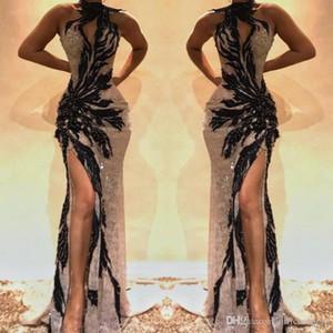 Noir 2019 Longue Sirène De Bal Robes Haut Côté Split Balayage Train Robes Soirée Porter Une Fête Abendkleider Occasion Spéciale Dres