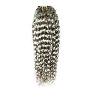 Les cheveux crépus brésiliens crépus brésiliens de la catégorie 8a de cheveux bon marché tisse des extensions de cheveux gris argentés de 100g / pc, qualité de trame double, sans perte, sans emmêlement