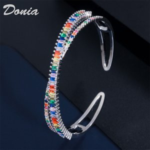 Donia jewelry Christmas colorful exaggerated copper micro inlay zircon Adjustable Bracelet personality geometric pattern party birthday gift