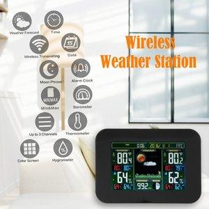 온도 경고 예측 실내, 실외 무선 센서 컬러 디스플레이 알람 시계와 날씨 무선 역