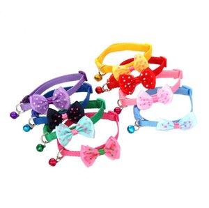 Популярные Домашние животные Doggy Bowknot Tie многоцветный Пунктирная Printed Cat Воротник Pet ожерелье с мини-Белл SN740