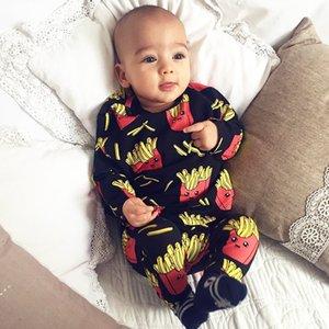 الطفل السروال القصير البطاطس المقلية الكولا طباعة 100٪ ٪ الوليد بنين بنات ملابس الرضع طفل ملابس طويلة الأكمام في بذلة J190525