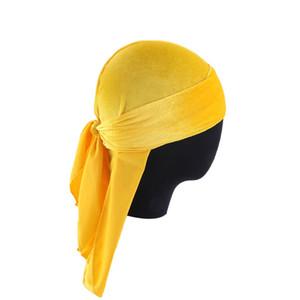 الرجال المخملية Durags عمامة قابلة للتنفس الشعر المستعار دو خرقة ذيل طويل قبعة القراصنة Durag