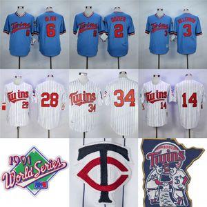 1991 Mundial 34 Kirby Puckett Jersey para hombre 28 Bert Blyleven 14 Kent Hrbek 7 Joe Mauer 6 Tony Oliva 3 Killebrew 2 Dozier camisetas de béisbol