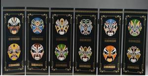 China Superb Lack Ware Handarbeit Malerei sechs Fans Beijing Opera Maskenbildschirm