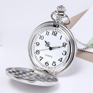 Bronze unisexe Retro Pocket Watch Fashion chaîne Collier Miroir d'argent Montre de poche Homme Horloge reloj de bolsillo Dropshipping