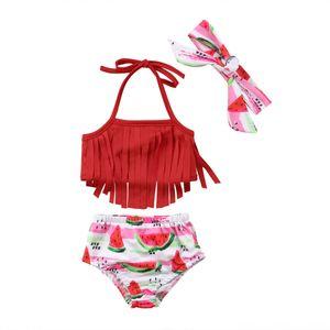 Summer Newborn Baby Girl Swimsuit Tassel Strap Tops Maternity Clothing Maternity Supplies High Waist Watermelon Bottom Headband 3PCS Bikini