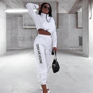 Женская Дизайнерская 2pcs штаны Мода весна женщин 2 шт Комплект с длинным рукавом Одежда и женщин спортивные брюки