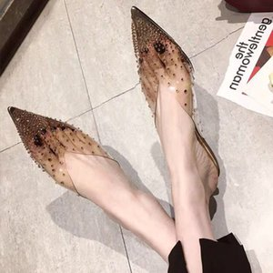 New summer transparent rhinestone muller shoes contracted fish mouth shallow mouth show white low heel cool slippers woman