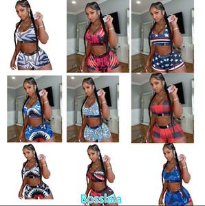 Women Ethika Designer Swimsuit 2 Piece Bikini Set Vest Tank Top Bra And Shorts Swimming Suit Luxury Shark Swimwear Brand Beachwear c06