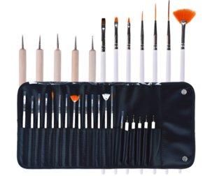 20 unids Nail Art Design pen Brushes Dotting Pintura Dibujo Polaco Pen Kit de herramientas con bolsa de cuero