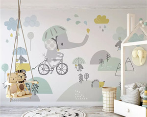 Eco tamaño personalizado del papel pintado 3D moto lindo elefante fondo hámster niño nube papel de pared parede decoración papeles a casa