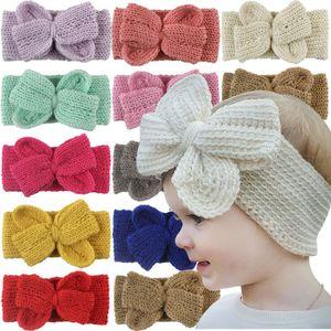 Mignon enfant fille bébé Bandeau enfant en bas âge laine Bow fleur cheveux bande Accessoires tricot Bow Couvre-chef