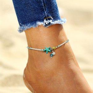 Boho sandálias pérola de água doce encanto tornozeleiras mulheres descalças contas tornozeleira praia do verão Starfish frisado
