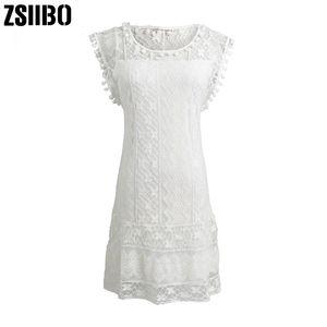 ZSIIBO Plus Size Summer Dress 2019 Women Casual Beach Short Dress Tassel Black White Mini Lace Sexy Party Dresses mini