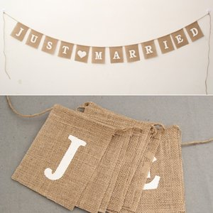 New Design Jute Rope Flax Wedding Photo Props Banner Jute Burlap Bunting Just Married Rustic Garland Party Wedding Decoration