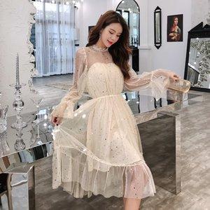 9076 # 2019 molla dei vestiti di nuovo stile del bronzo garza stile coreano Debuttante-Stile abbigliamento