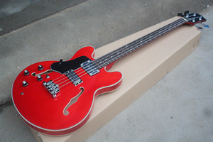 Фабрика Custom Левша Полуполая Красная Электрическая Бас-Гитара с 4-мя струнами, Палисандр Гриф, Хром Оборудование, Могут быть настроены