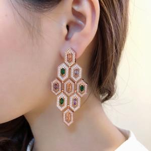 HotWomen's Jewelry 2019 Fashion Trendy Diamond Pendientes de piedras preciosas de color de alto grado