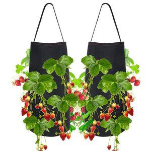 Hängendes Erdbeergarten-Pflanzerbett für Erdbeerblumen-Gemüse-wurzelnackte Pflanzen-Filz-materielles Pflanzen wachsen Tasche