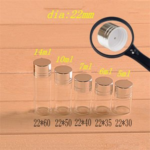 Wholesale- 25pcs 5ml 6ml 7ml 10ml 14ml Small Glass Bottles With Silver Color Plastic Screw Cap DIY Wishing Bottles 5 Kinds of Size