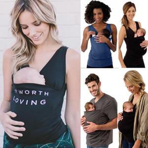 FemmesMen coton T-shirt Mère Père Kangourou Gilet Parenting Enfant Hauts Porte-Bébé Kangourou vêtements multifonctionnels Maternité 6 styles