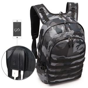 Jogo PUBG Backpack Men School Bolsas Mochila Pubg Battlefield USB infantaria Pacote de camuflagem Viagem Canvas carregamento Knapsack Cosplay T191021