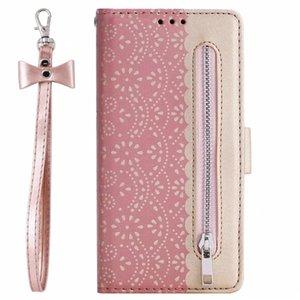 Pour Samsung S20 Ultra Remarque 10 Plus A11 A70E A41 dentelle en cuir Wallet Case Fleur Zipper argent carte de poche de carte d'identité + fente COUVERTURE Bow Bracelet
