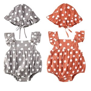 New Toddler Kids Baby Girl Dot Print Sleeveless Bodysuit +Hat 2pcs Jumpsuit Sunsuit Outfits Summer Beach Clothes