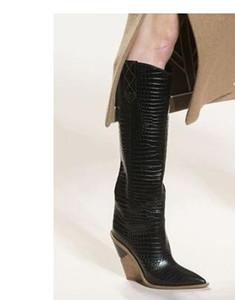 2020Toe Fashion Designer Etrange High Heels Cuir véritable Femmes Chaussures New automne Bottes d'hiver Bottes femme longue Runways