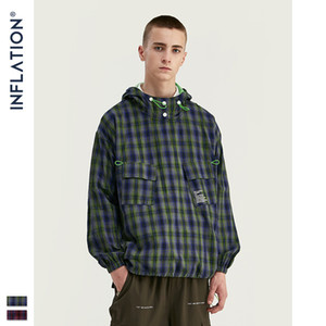 Men's clothing-2019 autumn and winter street lattice drawstring hem fluorescent green English men's loose hooded sweater tide