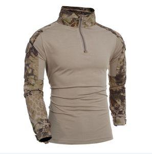 Combate Multicam Uniform manga comprida Militar Camiseta Homens Camuflagem do exército camiseta Airsoft Paintball Roupa Tactical Shirt