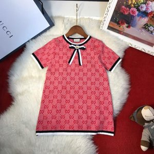 Little Girls Princess Summer dresses Casual Fashion knitting short sleeve dress neckline bow accessories 030920