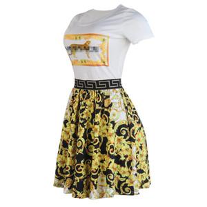 Fashion Designer-lusso delle donne vestiti floreali stampati A-Line Donna Abiti casual Womens Abbigliamento