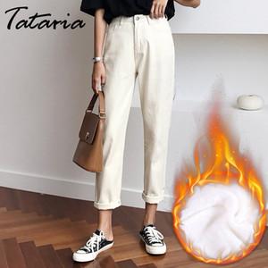 Tataria Warm Velvet Jeans Harem Winter Women Loose Vintage Harem Beige Women's Jeans Pants Winter Casual Cotton Jean Female
