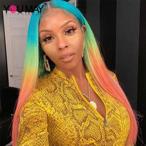 Reta dianteira do laço humano perucas de cabelo colorido arco-íris Lace Wig frontal brasileira Transparente completa T # Você maio colorido Wig